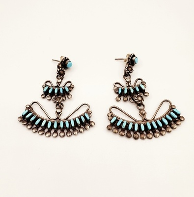 Title: Earrings: Zuni 2 Tier w/Arc , Medium: Sterling Silver/Turquoise , Edition: Vintage