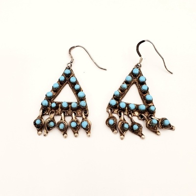 Title: Earrings: Unique Zuni Triangle Design , Medium: Sterling Silver/Turquoise , Edition: Vintage