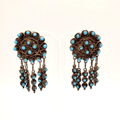 Title: Earrings: Zuni Round w/Dangle , Medium: Sterling Silver/Turquoise , Edition: Vintage