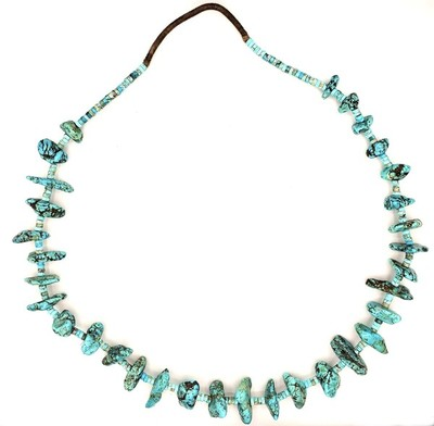 Title: Necklace: Large Blue Turquoise Nugget , Medium: Turquoise , Edition: Vintage