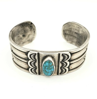Title: Bracelet: Silver Ingot Cuff w/Center Stone , Medium: Sterling Silver/Turquoise , Edition: Vintage