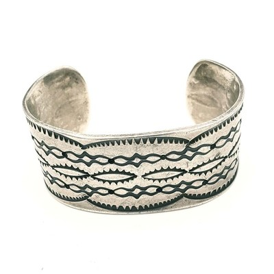Title: Bracelet: Vintage Navajo Small Stamped Silver Cuff , Medium: Sterling Silver , Edition: Vintage