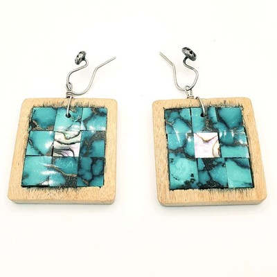 Title: Earrings: Pueblo Turquoise & Mother of Pearl Inlay , Medium: Turquoise , Edition: Vintage