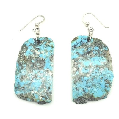 Title: Earrings: Kingman Natural Rough Side Out , Medium: Turquoise