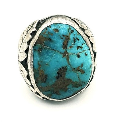Title: Ring: Vintage Navajo Silver & Turquoise w/Side Leafs , Medium: Sterling Silver/Turquoise , Edition: Vintage