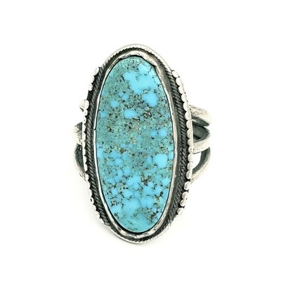 Title: Ring: Silver & Oval Spiderweb Turquoise , Medium: Sterling Silver/Turquoise , Edition: Vintage