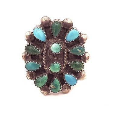 Title: Ring: Vintage Zuni Cluster , Medium: Sterling Silver/Turquoise , Edition: Vintage