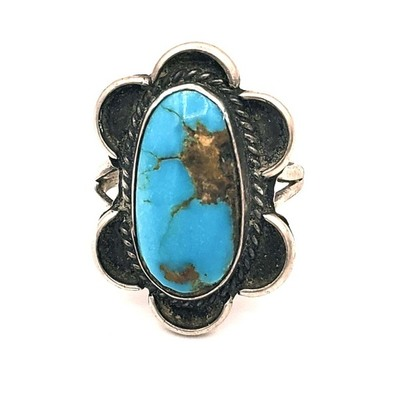 Title: Ring: Vintage Navajo Blue Turquoise w/Scallops , Medium: Sterling Silver/Turquoise , Edition: Vintage