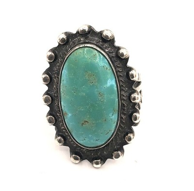 Title: Ring: Vintage Navajo Green Turquoise w/Stamped Band , Medium: Sterling Silver/Turquoise , Edition: Vintage