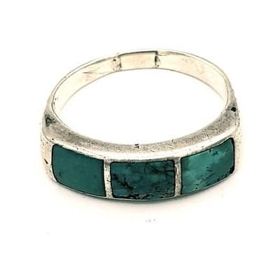 Title: Ring: Vintage Zuni Channel Inlay Silver & Turquoise , Medium: Sterling Silver/Turquoise , Edition: Vintage