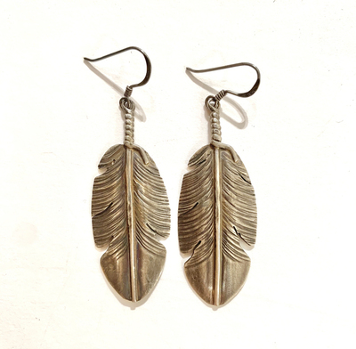 Title: Feather Earrings , Size: 2 inches , Medium: Sterling Silver