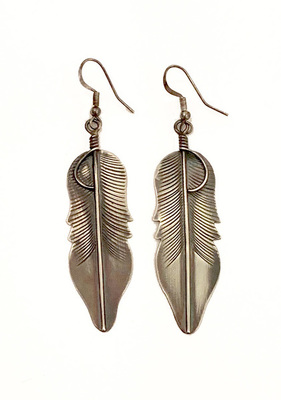 Title: Feather Earrings , Size: 3 inches , Medium: Sterling Silver