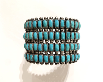 Title: Four Row Exquisite Zuni Bracelet , Medium: Sterling silver with turq