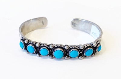 Title: Zuni Needlepoint Turquoise Bracelet , Medium: Sterling Silver , Edition: Vintage