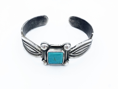 Title: Ingot Silver & Square Turquoise Naja , Medium: Silver and Turquoise