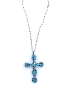 Title: Vintage Dishta Cross on Silver Chain , Medium: Silver and Turquoise