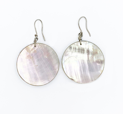 Title: Pair Santo Domingo Abalone Round Earrings , Medium: Silver