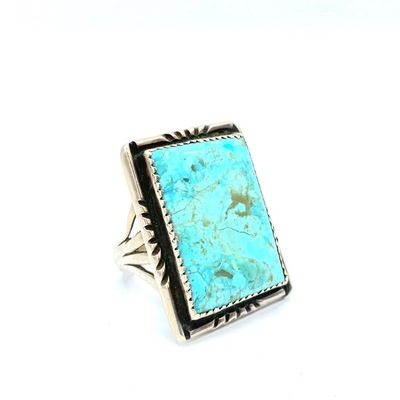 Title: Large Vintage Navajo Rectangular Ring , Size: Size 11 , Medium: Silver and Turquoise