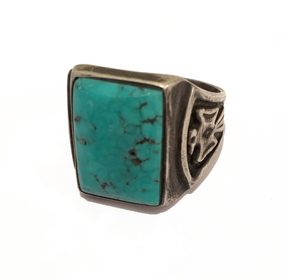 Title: Vintage Navajo Rectangular Ring w/ Thunderbird Side Element , Size: Size 11 , Medium: Silver and Turquoise