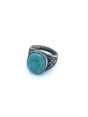 Title: Vintage Navajo Oval Ring w/ Thunderbird Side Element , Size: Size 12 , Medium: Silver and Turquoise