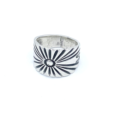 Title: Ingot Silver Jessie Robbins Stamped/Filed Ring , Size: Size 11.5