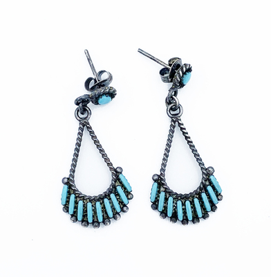 Title: Zuni Teardrop Petite Point Earrings , Medium: Silver and Turquoise