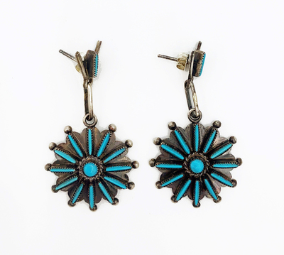Title: Zuni Star Burst Petite Point Earrings , Medium: Silver and Turquoise