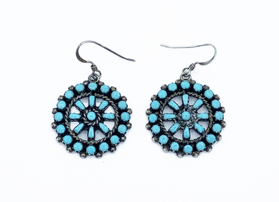 Title: Zuni Circular Earrings , Medium: Silver and Turquoise