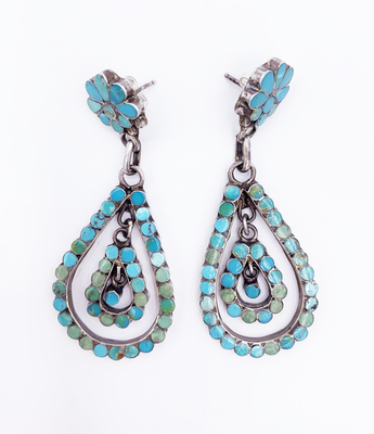 Title: Dishta Teardrop Inlayed Earrings , Medium: Silver and Turquoise