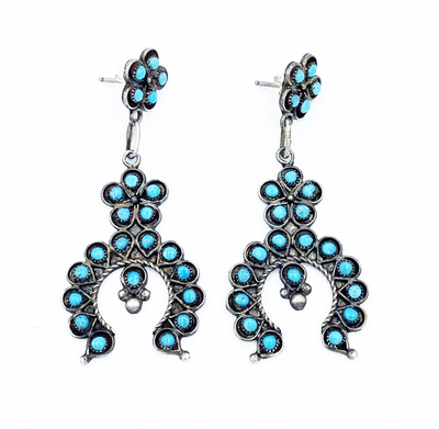 Title: Zuni Naja Cluster Earrings , Medium: Silver and Turquoise