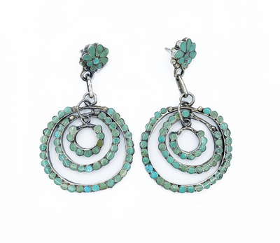 Title: Dishta Triple Circle Inlayed Earrings , Medium: Silver and Turquoise