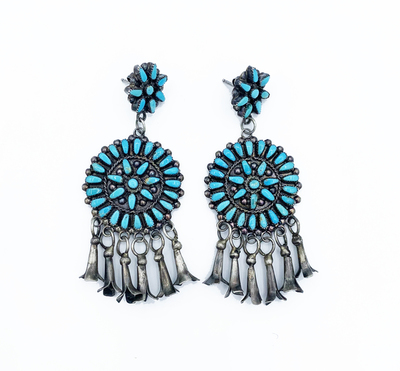 Title: Fabulous Zuni Round Cluster Earrings w/ Squash Blossom Dangles , Medium: Silver and Turquoise