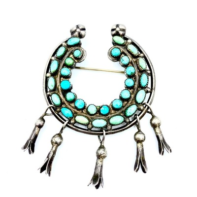 Title: Pin: Zuni Silver and Turquoise Horsehoe , Medium: Sterling Silver