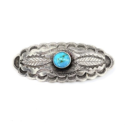 Title: Pin: Vintage Navajo Silver and Turquoise Oblong , Medium: Sterling Silver