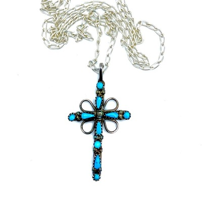 Title: Necklace: Silver and Turquoise Navajo Cross , Medium: Sterling Silver