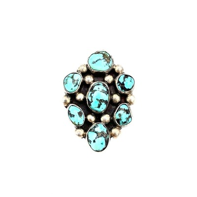 Title: Ring: Vintage Navajo Silver and Turquoise Cluster , Size: 6 3/4 , Medium: Sterling Silver