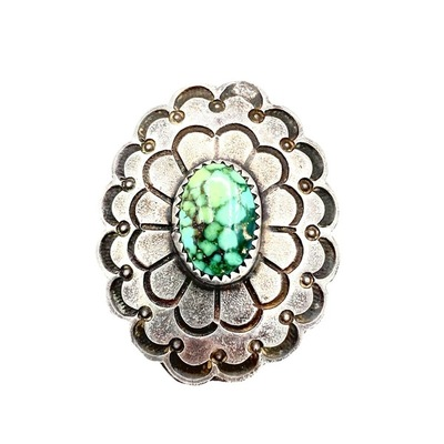 Title: Ring: Vintage Navajo Silver and Turquoise , Size: 8 , Medium: Sterling Silver