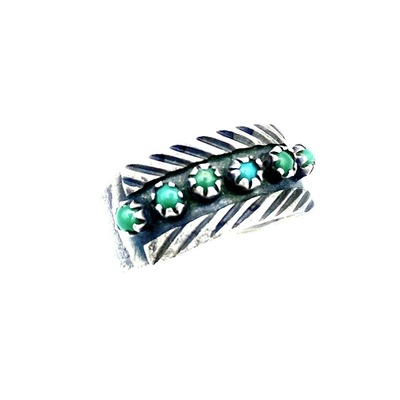 Title: Ring: Vintage Zuni Silver and Turquoise , Size: 9 3/4 , Medium: Sterling Silver