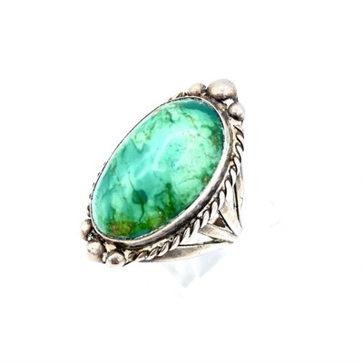 Title: Ring: Large Vintage Navajo Silver and Turquoise Oval , Size: 7 1/4 , Medium: Sterling Silver