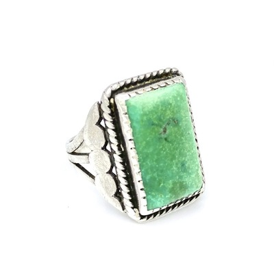 Title: Ring: Vintage Navajo Silver and Turquoise Rectangular , Size: 7 , Medium: Sterling Silver