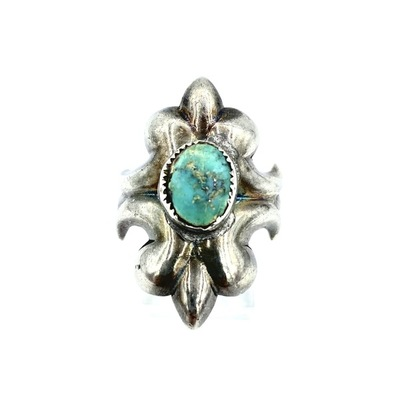 Title: Ring: Vintage Navajo Sandcast Silver and Turquoise , Size: 8 1/2 , Medium: Sterling Silver