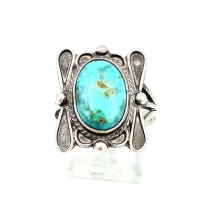 Sterling Silver Petit Point turquoise Old Pawn Estate anneaux SW04