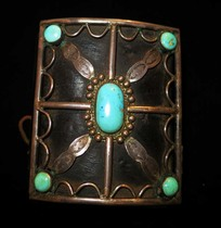 Title: Ketoh, Vintage Navajo Silver & Turquoise (Bow Gaurd) , Date: 1920 - 1930 , Size: 3 3/8 x 2 3/4 inches , Medium: Sterling Silver and Turquoise , Edition: Vintage