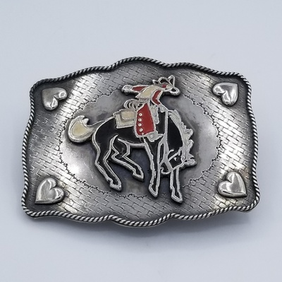 Title: Buckle Sterling Silver with Heart Appliques & Bronco , Size: 2 7/8 x 3 1/2 inches , Medium: Sterling Silver , Edition: Vintage