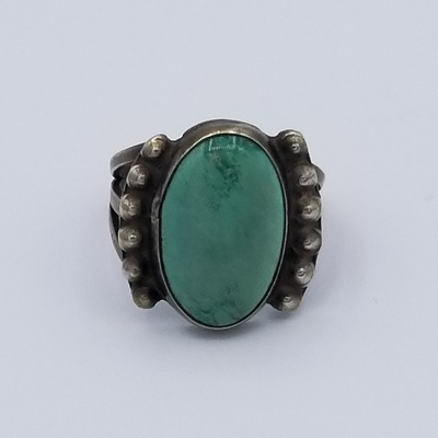 Title: Ring Vintage Silver & Turquoise Navajo with Split Wire Band , Date: 1930 , Size: 6 3/4 , Medium: Sterling Silver , Edition: Vintage