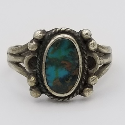 Title: Ring Great Blue Turquoise Mounted on Split Wire Navajo Band , Date: 1970 , Size: 7 , Medium: Sterling Silver , Edition: Vintage