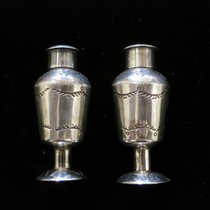 Title: Salt and Pepper Shakers, Beautiful Vintage Navajo , Size: 2 H x 7/8 W inches , Medium: Sterling Silver , Edition: Vintage