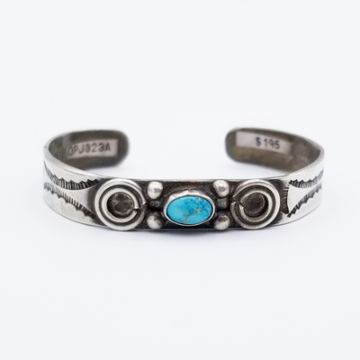 Title: Bracelet: Childs Navajo with Circle Adornments , Medium: Sterling Silver , Edition: Vintage