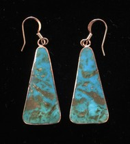 Title: Earrings: Silver Rimmed Turquoise Slab , Size: 1 3/8 x 5/8 inches , Medium: Sterling Silver , Edition: Vintage