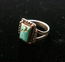 Title: Ring: Early Fred Harvey Silver and Small Rectangular Stone, Stamped Band, Great Patina , Date: c.1920 , Size: 8 3/4 , Medium: Sterling Silver , Edition: Vintage